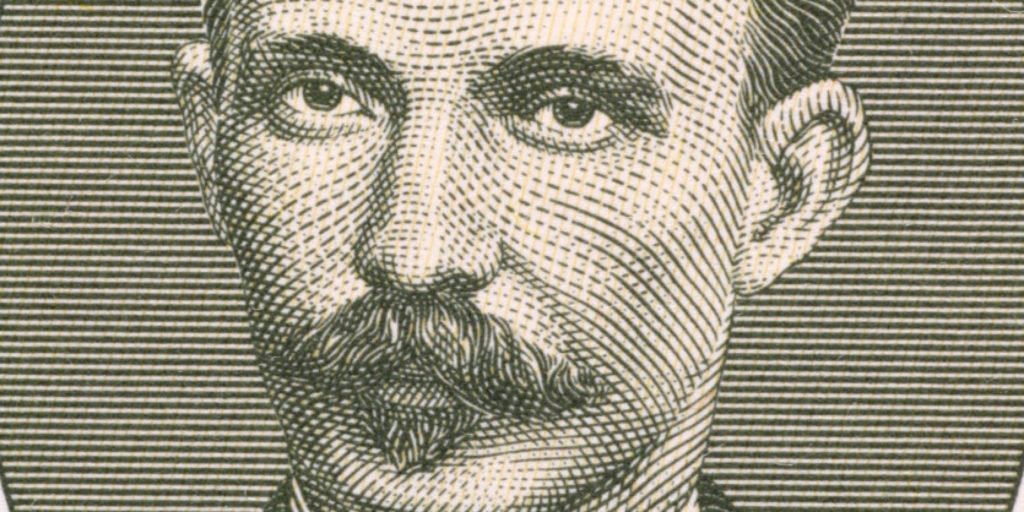 Jose Marti on 1 Peso 1986 from Cuba. Cuban national hero who fought against spanish and later usa. He was also an important figure in latin American literature.